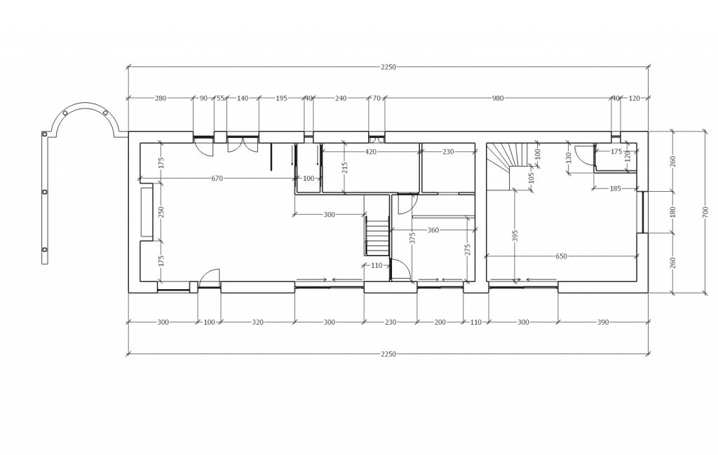 Plan de maison en vue de coupe