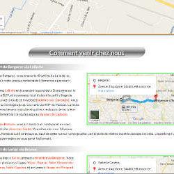 Page d'accès intégrant plusieurs cartes Google